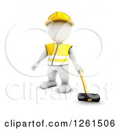 Clipart Of A 3d White Man Construction Worker With A Sledgehammer Royalty Free Vector Illustration by KJ Pargeter