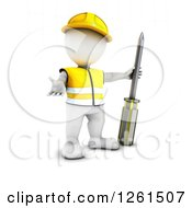 Clipart Of A 3d White Man Construction Worker With A Giant Screwdriver Royalty Free Vector Illustration
