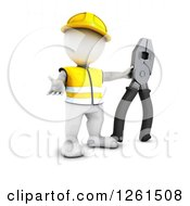 Clipart Of A 3d White Man Construction Worker With A Giant Pair Of Pliers Royalty Free Vector Illustration