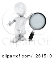Clipart Of A 3d White Man With A Giant Magnifying Glass Royalty Free Illustration