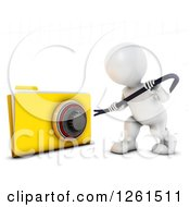 Clipart Of A 3d White Man Trying To Pry Open A Secure File Royalty Free Vector Illustration