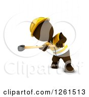Clipart Of A 3d Brown Man Construction Worker Using A Sledgehammer Royalty Free Vector Illustration by KJ Pargeter