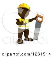 Clipart Of A 3d Brown Man Construction Worker With A Giant Saw Royalty Free Vector Illustration