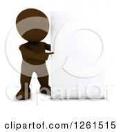 3d Brown Man Pointing To A Blank Sign