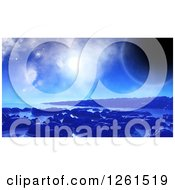 Clipart Of A 3d Blue Foreign Planet Waterscape Royalty Free Vector Illustration