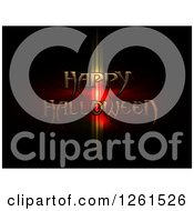 Clipart Of A Happy Halloween Text Over Flares On Black Royalty Free Vector Illustration