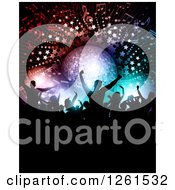 Clipart Of Silhouetted Dancers Under A Disco Ball Music Notes Stars And Lights Royalty Free Vector Illustration