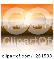 Clipart Of A Sunrise Over Mountains Evergreens And A Reflective Lake Royalty Free Vector Illustration