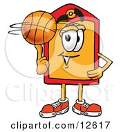 Price Tag Mascot Cartoon Character Spinning A Basketball On His Finger