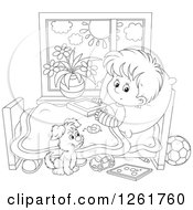 Clipart Of A Black And White Puppy By A Boy Recovering From A Broken Arm In Bed Royalty Free Vector Illustration by Alex Bannykh