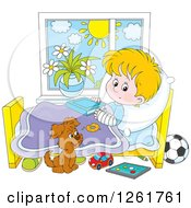 Clipart Of A Puppy By A Caucasian Boy Recovering From A Broken Arm In Bed Royalty Free Vector Illustration by Alex Bannykh