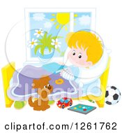 Clipart Of A Puppy By A White Boy Recovering From A Broken Arm In Bed Royalty Free Vector Illustration by Alex Bannykh