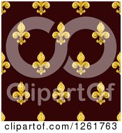 Clipart Of A Seamlessly Tileable Gold Fleur De Lis On Burgundy Background Pattern Royalty Free Vector Illustration by AtStockIllustration