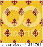 Clipart Of A Seamlessly Tileable Burgundy Fleur De Lis On Gold Background Pattern Royalty Free Vector Illustration by AtStockIllustration