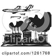 Clipart Of A Black And White Woodcut Plane Bombing A Factory Royalty Free Vector Illustration by xunantunich