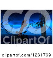 Clipart Of A 3d Zombie Hand Rising From The Dead By Creepy Trees Royalty Free Illustration
