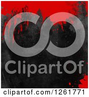 Clipart Of A Black Grunge Texture With Blood Splatters Royalty Free Illustration