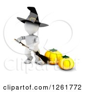 Clipart Of A 3d White Witch Holding A Broom By Pumpkins Royalty Free Illustration