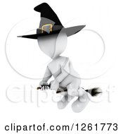 Clipart Of A 3d White Witch Flying On A Broomstick Royalty Free Illustration