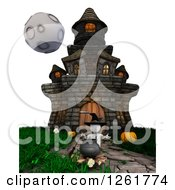 Clipart Of A 3d White Witch And A Haunted House Royalty Free Illustration