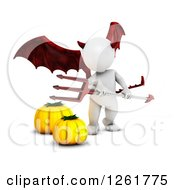 Clipart Of A 3d White Halloween Devil With Pumpkins Royalty Free Illustration by KJ Pargeter