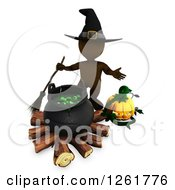 Clipart Of A 3d Brown Witch With A Cauldron And Halloween Jackolantern Royalty Free Illustration by KJ Pargeter