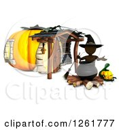 Clipart Of A 3d Brown Witch With A Cauldron At A Halloween Pumpkin House Royalty Free Illustration by KJ Pargeter