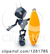 Clipart Of A 3d Blue Android Robot With A Giant Surfboard Royalty Free Illustration