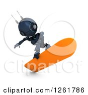 Clipart Of A 3d Blue Android Robot Snowboarding Royalty Free Illustration