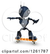 Clipart Of A 3d Blue Android Robot Skateboarding Royalty Free Illustration by KJ Pargeter