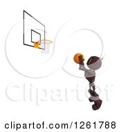 Clipart Of A 3d Red Android Robot Playing Basketball Royalty Free Illustration