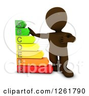 Clipart Of A 3d Brown Man With A Giant Energy Rating Chart Royalty Free Illustration by KJ Pargeter