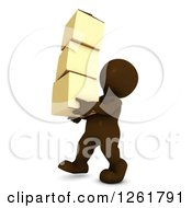 Clipart Of A 3d Brown Man Carrying Moving Boxes Royalty Free Illustration