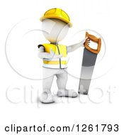 Clipart Of A 3d White Man Construction Worker With A Giant Saw Royalty Free Illustration