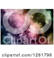 Clipart Of A Colorful Nebula And Starry Sky Background Royalty Free Illustration