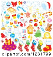 Clipart Of Christmas Items Royalty Free Vector Illustration