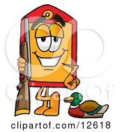 Price Tag Mascot Cartoon Character Duck Hunting Standing With A Rifle And Duck