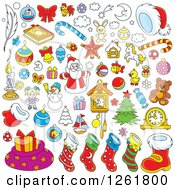 Clipart Of Christmas Items Royalty Free Vector Illustration by Alex Bannykh