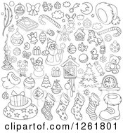 Clipart Of Black And White Christmas Items Royalty Free Vector Illustration by Alex Bannykh