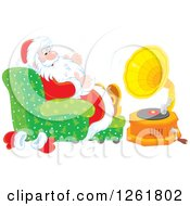 Santa Claus Sitting In A Chair And Listening To Music