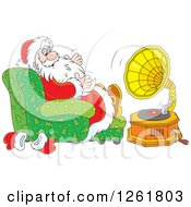 Clipart Of Santa Sitting In A Chair And Listening To Music Royalty Free Vector Illustration by Alex Bannykh