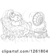 Clipart Of Black And White Santa Claus Sitting In A Chair And Listening To Music Royalty Free Vector Illustration by Alex Bannykh