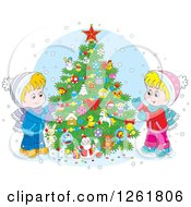 Clipart Of Happy Caucasian Children Decorating An Outdoor Christmas Tree In The Snow Royalty Free Vector Illustration