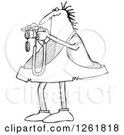 Clipart Of A Black And White Hairy Caveman Taking Pictures Royalty Free Vector Illustration by djart
