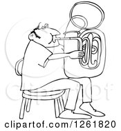 Clipart Of A Black And White Chubby Man Sitting And Playing A Tuba Royalty Free Vector Illustration
