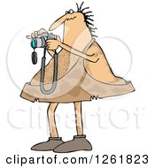 Clipart Of A Hairy Caveman Taking Pictures Royalty Free Vector Illustration