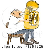 Clipart Of A Chubby Caucasian Man Sitting And Playing A Tuba Royalty Free Vector Illustration