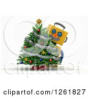 Clipart Of A 3d Happy Yellow Robot Smiling Around A Christmas Tree Over White Royalty Free Illustration