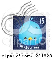 Clipart Of A Postmark Over A Bluebird On A Follow Me Stamp Royalty Free Vector Illustration by Qiun
