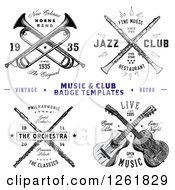 Vintage Crossed Musical Instrument Designs With Sample Text